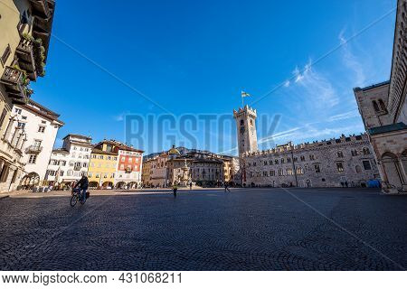Cathedral Square In Trento Downtown (piazza Del Duomo) With The Neptune Fountain, Civic Tower, Praet