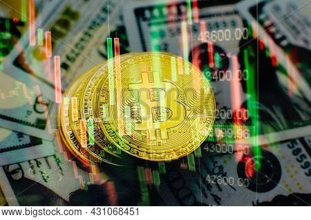 Chart Shows A Strong Increase In The Price Of Bitcoin. Investing In Virtual Assets. Investment Platf
