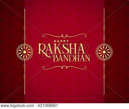 Happy Raksha Bandhan Red Card Design Vector Illustration