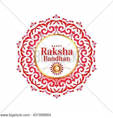 Decorative Raksha Bandhan Mandala Greeting Design Vector Illustration