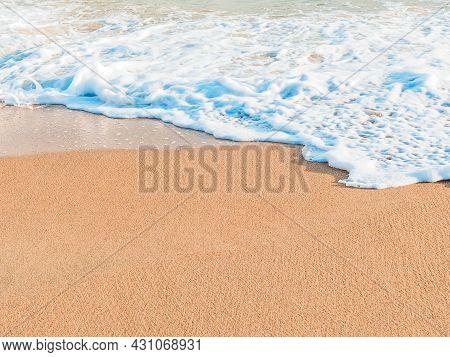 Wave On A Sandy Beach On A Sunny Day, Copy Space