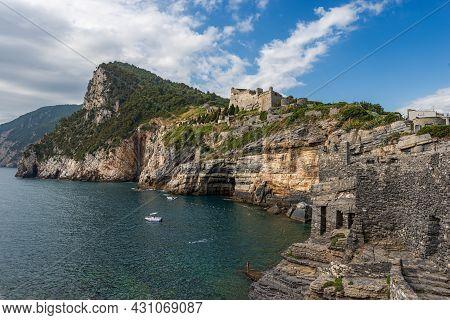 Ancient Doria Castle (1164-xix Century) Of Porto Venere Or Portovenere Town, Unesco World Heritage S