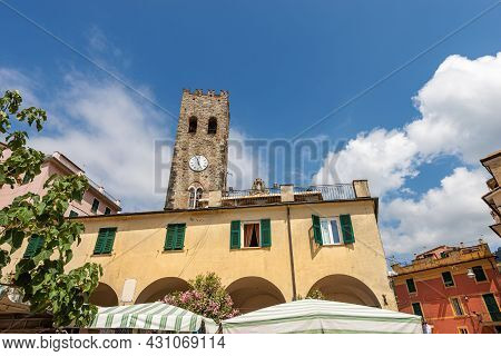 Downtown Of Monterosso Al Mare Village. Bell Tower Of The Church Of Saint John The Baptist, Xiii Cen