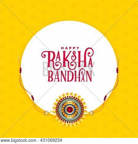 Raksha Bandhan Yellow Greeting Card Design Vector Illustration