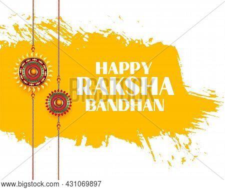 Happy Raksha Bandhan Wishes Greeting Card Design Vector Illustration