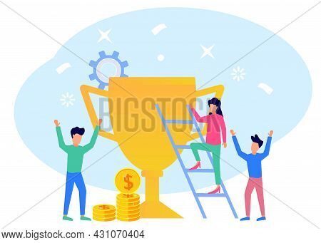 Isometric Flat Vector Illustration Isolated On White Background, Success Concept. People Who Work To