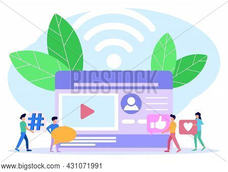 Flat Isometric Vector Illustration Isolated On White Background. The Concept Of Social Media Referra