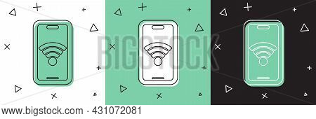 Set Smartphone With Free Wi-fi Wireless Connection Icon Isolated On White And Green, Black Backgroun
