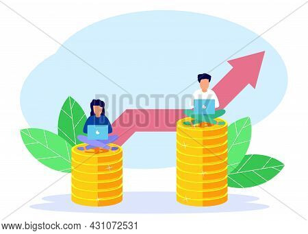 Vector Illustration, 2 Business Women And Men Standing On A Pile Of Coins Which Symbolizes Salary Le