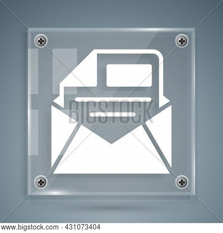 White Mail And E-mail Icon Isolated On Grey Background. Envelope Symbol E-mail. Email Message Sign.