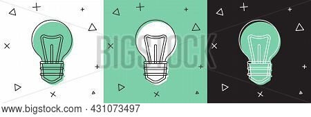 Set Light Bulb With Concept Of Idea Icon Isolated On White And Green, Black Background. Energy And I