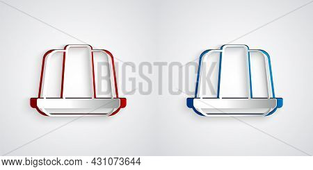 Paper Cut Jelly Cake Icon Isolated On Grey Background. Jelly Pudding. Paper Art Style. Vector