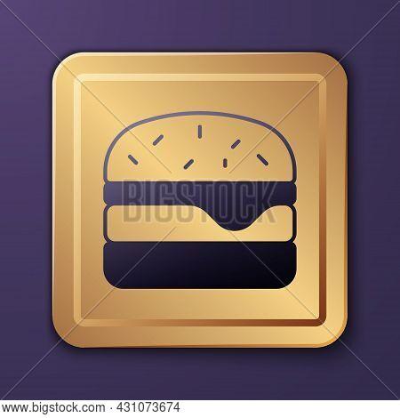 Purple Burger Icon Isolated On Purple Background. Hamburger Icon. Cheeseburger Sandwich Sign. Fast F