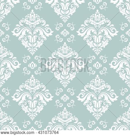 Classic Seamless Pattern. Damask Orient Light Blue And White Ornament. Classic Vintage Background. O