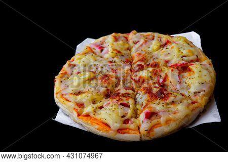 Spicy Sausage Italian Pizza With Tomato, Mozzarella Cheese, Sausage Slice. Homemade Pizza On Baking