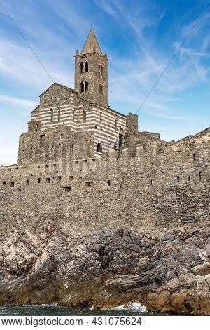 Medieval Church Of San Pietro (st. Peter Consecrated In 1198) In Portovenere Or Porto Venere, Unesco