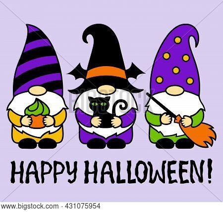Halloween Gnomes With Black Cat, Cake, Broom. Happy Halloween. Cartoon Characters. Holidays Greeting
