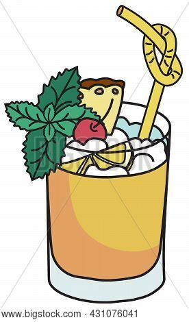 Stylish Hand-drawn Doodle Cartoon Style Vector Illustration. Sweet Caribbean Tiki Mai Tai Cocktail I