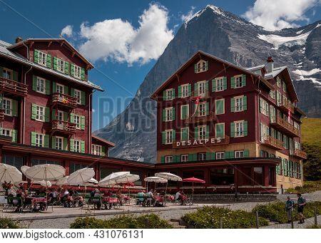 Kleine Scheidegg, Bernese Oberland, Switzerland - August 01 2017 : Hotel Bellevue Des Alpes With Fam