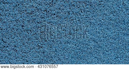 Panorama Of Blue Plastic Doormat Texture And Background Seamless