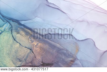 Art Abstract smoke blue watercolor and gold glitter horizontal background. Marble texture. Alcohol ink.