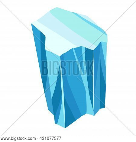 Cartoon Ice Crystals. Cold Frozen Blocks Or Ice Mountain, Winter Decoration For Game Design. Iceberg