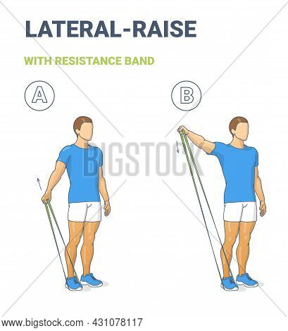 Man Doing Lateral Arm Raise Home Workout Exercise With Thin Resistance Band Or Loop Guidance.