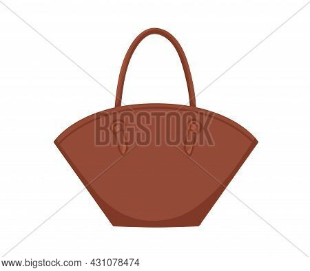Fashion Women Leather Handbag With Rounded Open Top And Handles. Modern Stylish Handheld Basket Tote