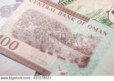 Close Up To 100 Baisa Of The Arabic Country Oman. Paper Banknote Of The Arabian Country. Detailed Ca