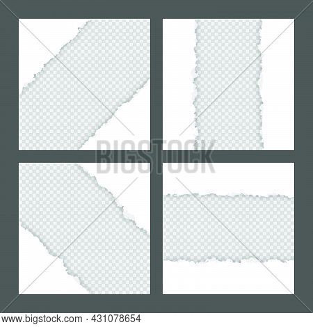 Blank White Ripped Torn Square Paper Sheets Collection