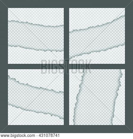 Ripped Torn Paper Edge Collection Isolated On Gray Background