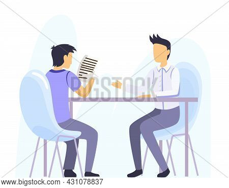 Bank Office Interior Design. Man Sitting In Office And Consulting With Bank Worker. Assistant Offeri