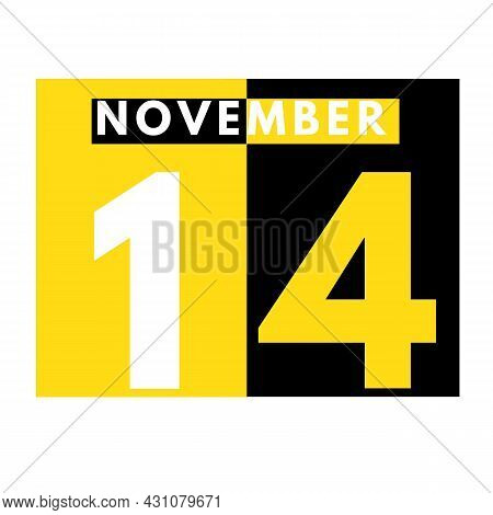 November 14 . Modern Daily Calendar Icon .date ,day, Month .calendar For The Month Of November