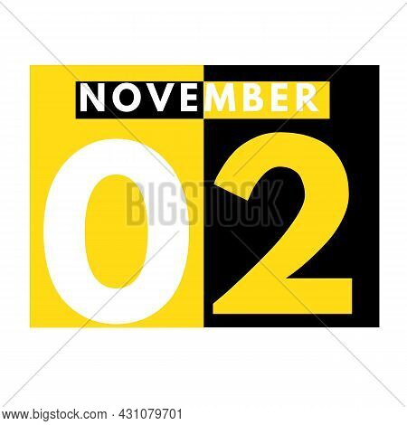 November 2 . Modern Daily Calendar Icon .date ,day, Month .calendar For The Month Of November