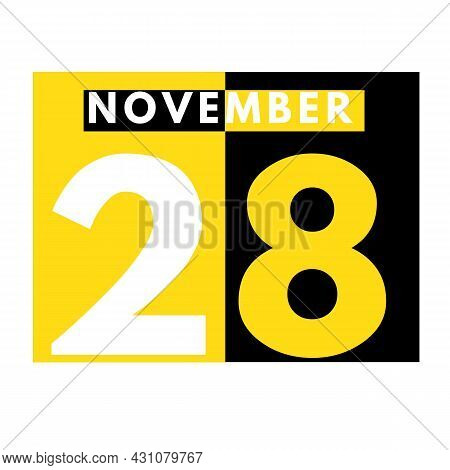 November 28 . Modern Daily Calendar Icon .date ,day, Month .calendar For The Month Of November