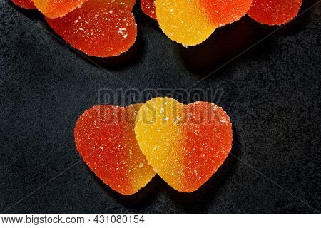 A Lot Of Marmalade Hearts And Two Hearts Together. Marmalade Candy In The Form Of A Heart.