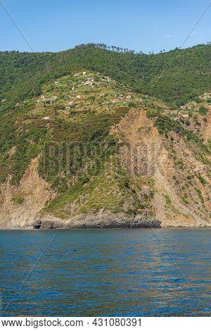 Coast Of The Cinque Terre With The Small Rural Village Of Fossola, Ligurian Sea, La Spezia Province,