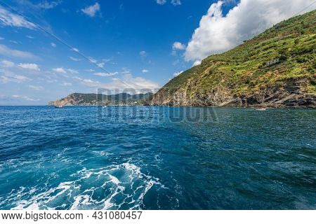 Coast Between The Small Villages Of Vernazza And Monterosso Al Mare, Seen From The Sea, Cinque Terre