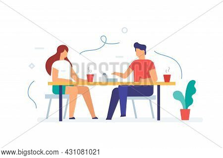 Girl And A Guy Are Sitting In A Cafe, Rest, Communication, Relationships, Social Networks Set Of Ico