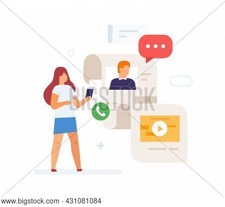 Girl Scrolls Through Social Networks, Smartphone Traffic Illustration. Smartphones Tablets User Inte