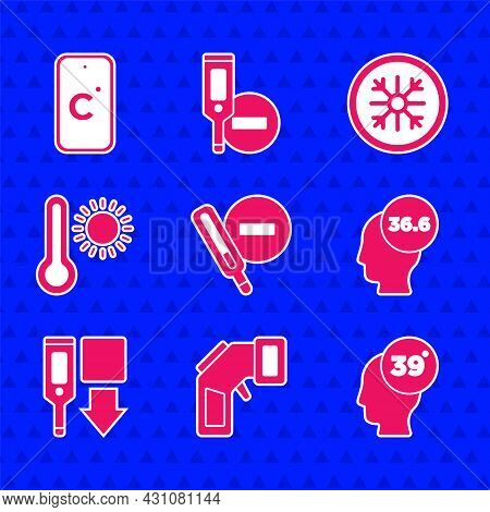Set Medical Thermometer, Digital, High Human Body Temperature, Meteorology, Snowflake And Celsius Ic