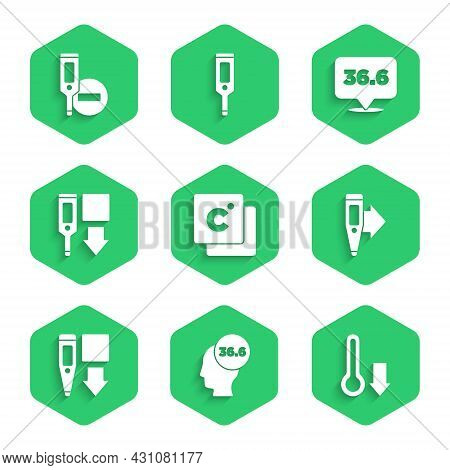 Set Celsius, Medical Thermometer, Meteorology, Digital, And Icon. Vector