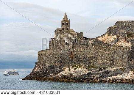 Medieval Church Of San Pietro (st. Peter Consecrated In 1198) In Portovenere Or Porto Venere Town, U