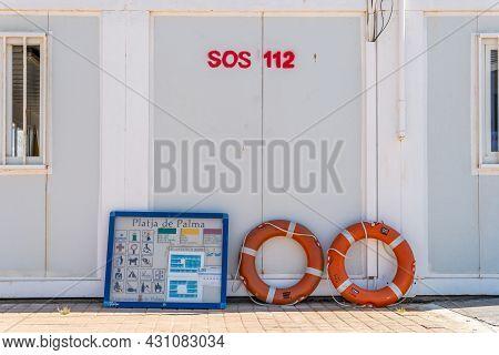 Playa De Palma, Spain; July 16 2021: Emergency Post In The Majorcan Tourist Resort Of Playa De Palma