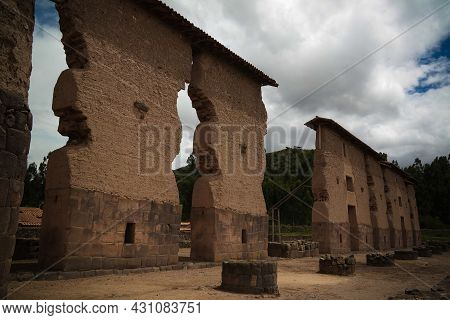 View To Temple Of Wiracocha Made With Polygonal Masonry At Archaeological Site Of Raqchi At Cuzco, P