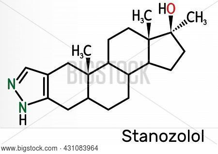 Stanozolol, Stz Molecule. It Is Androgen, Synthetic Anabolic Steroid, Used In Treating Hereditary An