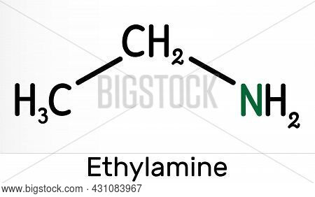 Ethylamine, Ethanamine, Aminoethane, Ethyl Amine Molecule. It Is Two-carbon Primary Aliphatic Amine.