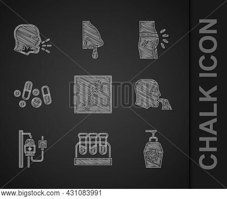 Set Scar With Suture, Test Tube Blood, Liquid Antibacterial Soap, Vomiting Man, Iv Bag, Medicine Pil