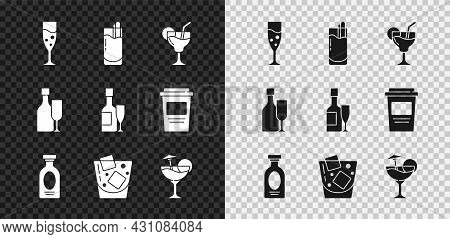 Set Glass Of Champagne, Cocktail Bloody Mary, Alcohol Drink Rum, Whiskey, Wine Bottle With Glass And
