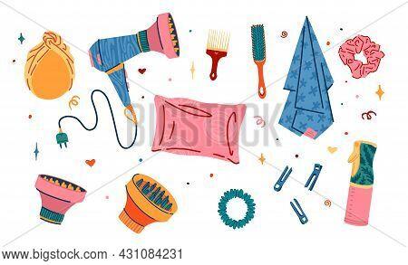 Set Of Hair Accessorise Of Barbershop. Illustration Of Silk Pillowcase, Silk Towel, Satin Hair Band.